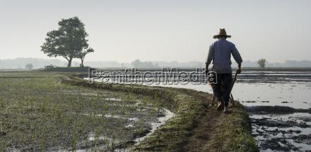 un granjero que conduce una carretilla