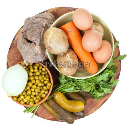 vista superior de ingredientes para la