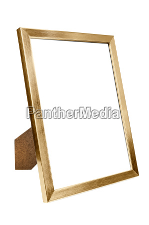 golden aluminum empty photo frame on