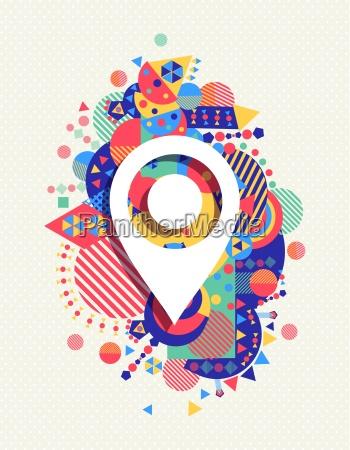 mapa gps icono colorido fondo de