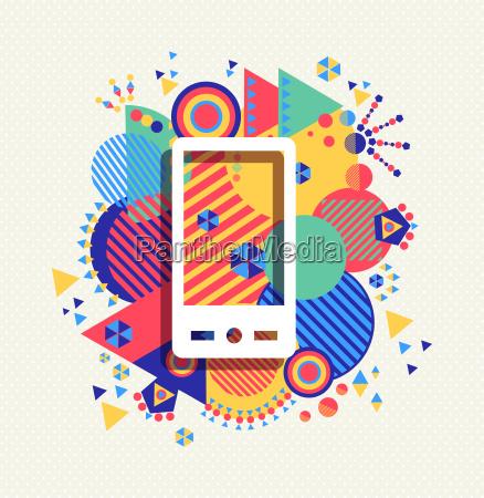 telefono movil icono color vibrante forma