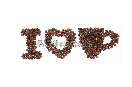 granos de cafe tostado en forma