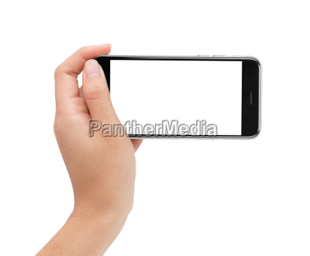 female hand holding phone white screen