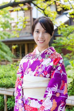asian woman wearing japanese kimono