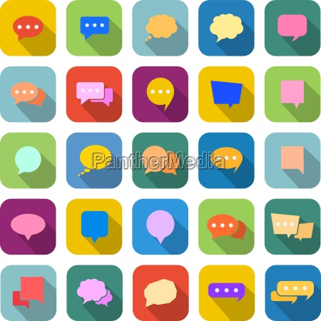 speech bubble color icons with long