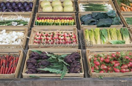 varias verduras en cajas de madera