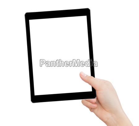 hand holding tablet similar to ipades