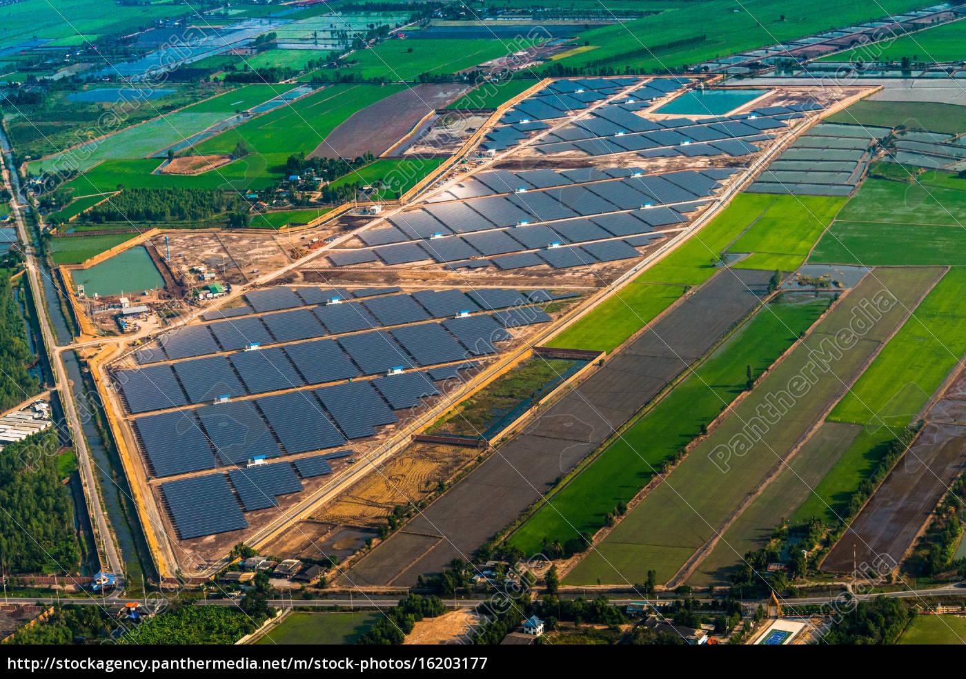 granja, solar, paneles, solares, foto, del, aire - 16203177