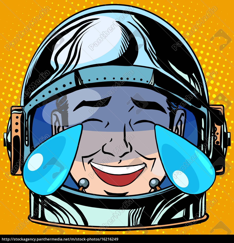 Emoticon Risa Lágrimas Emoji Cara Hombre Astronauta Foto De
