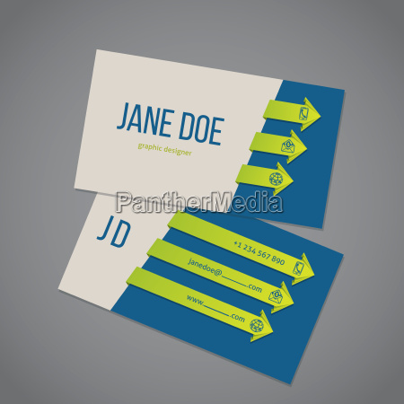 business card template with arrow ribbons