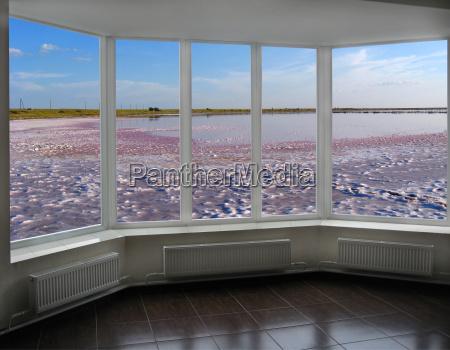 ventana plastica con la vista del