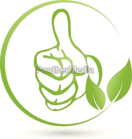 logotipo vegetariano mano hojas vegano planta