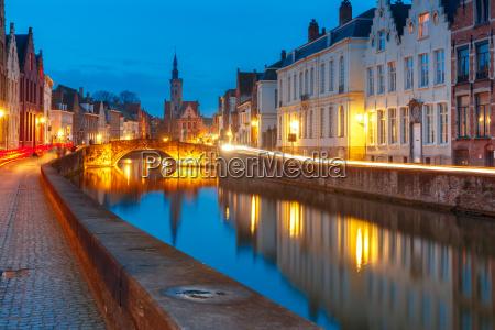 night canal spiegel in bruges belgium