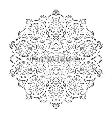mandala illustration for adult coloring
