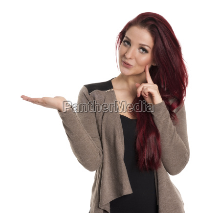 self confident red haired woman shows