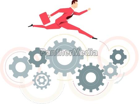 red suit businessman jump vector concept