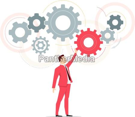 red suit businessman work vector concept
