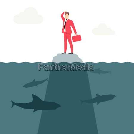 red de negocios traje y tiburones