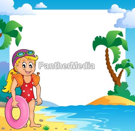 tema de playa marco con chica