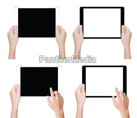 close up hand holding tablet isolated