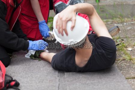 accidente de trabajo entrenamiento de primeros