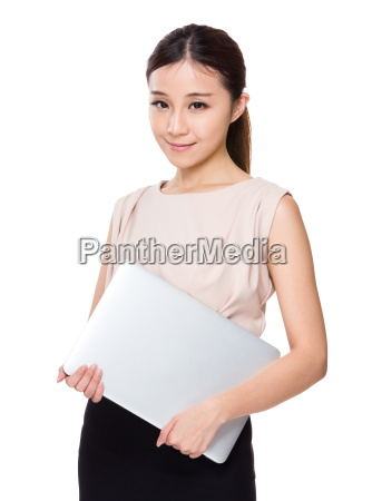 asian woman carry with notebook computer