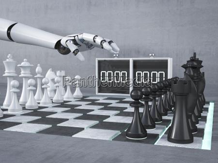 mano robot jugando ajedrez inicio reloj