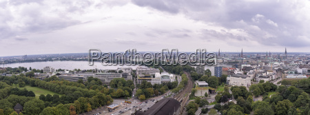 germany hamburg cityscape with binnenalster and