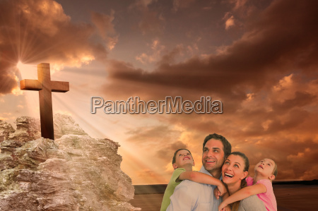 composite image of happy young family