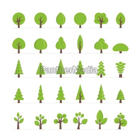 vector diferentes arboles arbustos pasto y