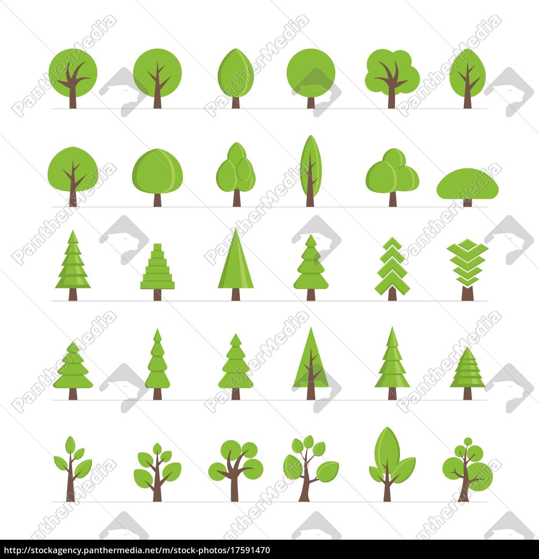 vector, diferentes, árboles, arbustos, pasto, y, otros, objetos - 17591470