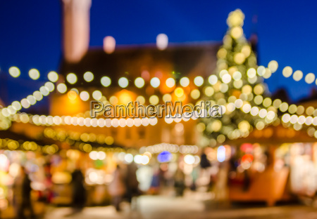 decorado mercado navidenyo resumen luces borrosas
