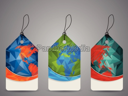 polygon design shopping labels with world