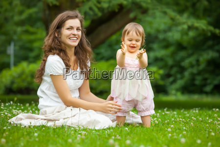 mother and little daughter in the