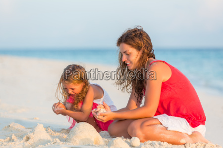 mother with little daughter on the