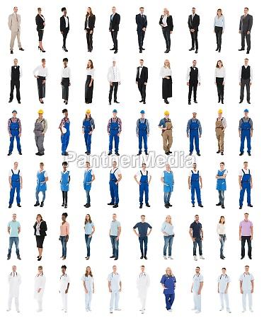 conjunto de personas con diversas ocupaciones