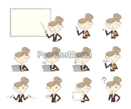 conjunto de poses y emociones las