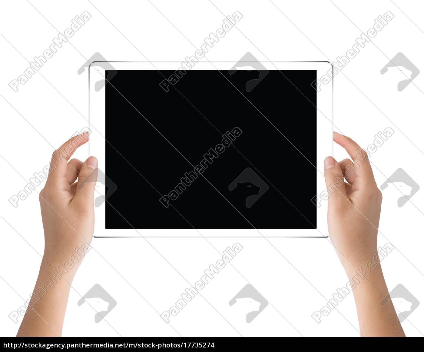 mano, sosteniendo, tableta, negra, aislada, en - 17735274