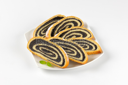 slices of poppy seed roll