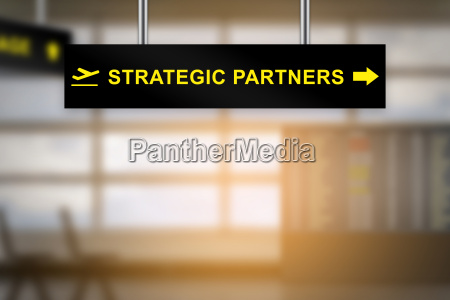 strategic partners on airport sign board