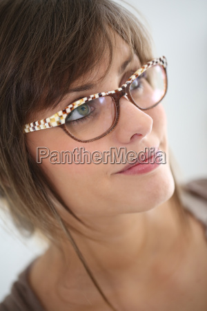 young woman with modern eyeglasses isolated