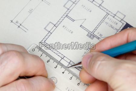 drawing a blueprint