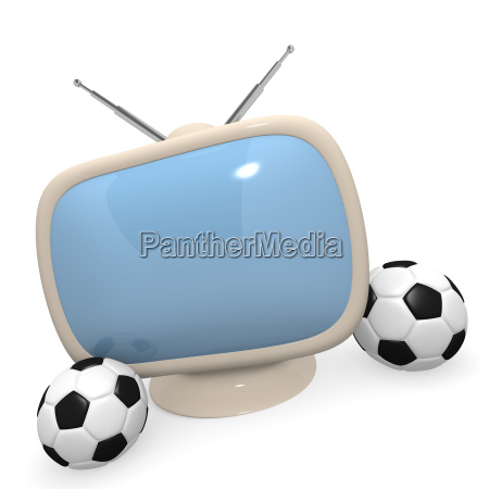 retro styled television with a soccer