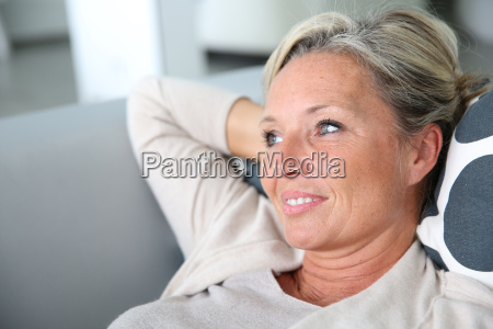 portrait of mature attractive woman relaxing