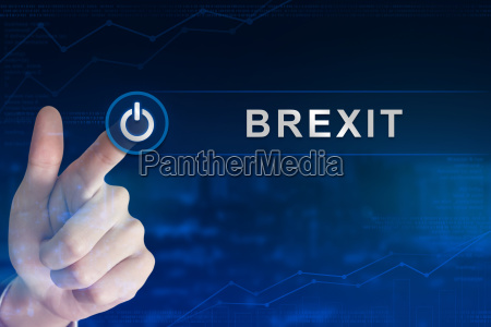 business hand clicking brexit or british