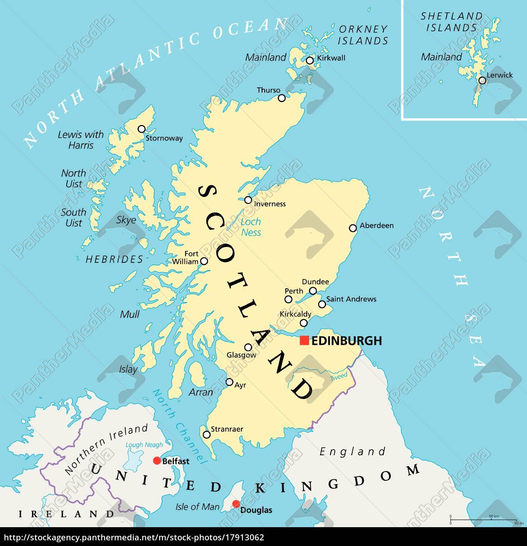 Independiente Mapa Politico Escocia Stockphoto 17913062