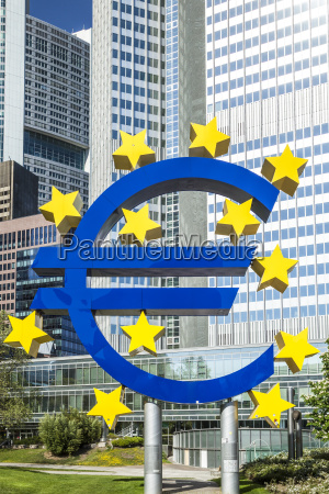the euro sign on a sunny