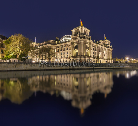 the german reichstag by night with
