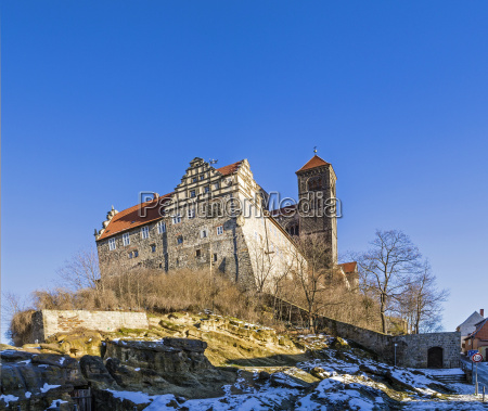 castle and church in quedlinburg germany