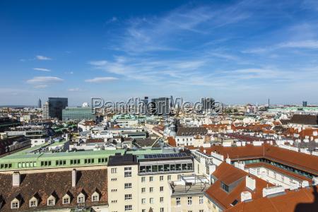 aerial view of vienna city skyline